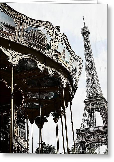 Paris Eiffel Tower Carousel Surreal Black And White Print  Greeting Card by Kathy Fornal