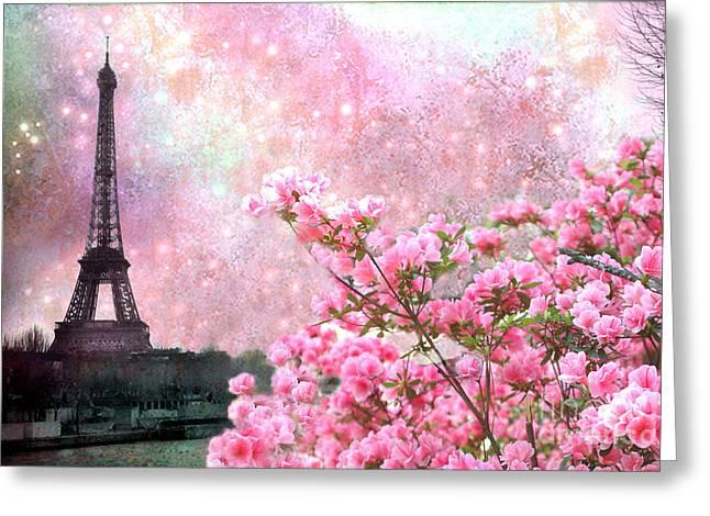 Paris Eiffel Tower Cherry Blossoms - Paris Spring Eiffel Tower Pink Cherry Blossoms  Greeting Card
