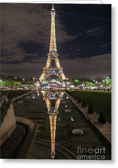 Paris Eiffel Tower Dazzling At Night Greeting Card