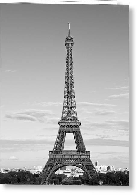 Paris Eiffel Tower Monochrome Greeting Card by Melanie Viola