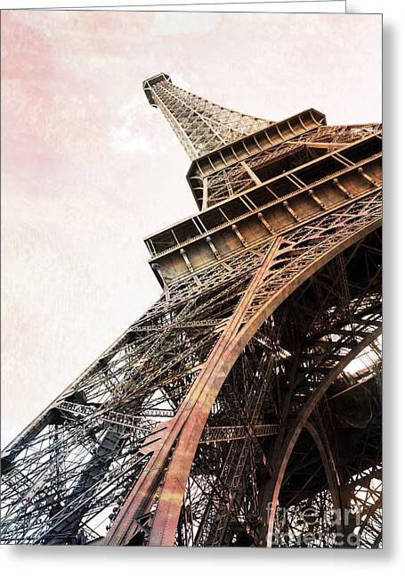 Paris Eiffel Tower Painterly Sepia Abstract - Eiffel Tower Sepia Vintage Art Decor And Prints Greeting Card