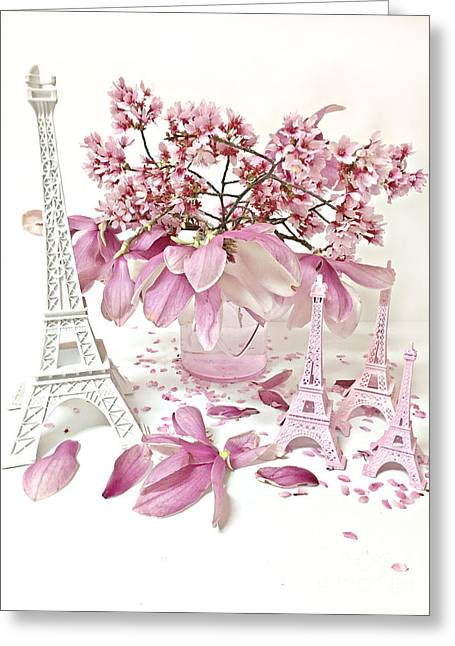 Paris Eiffel Tower Spring Magnolia Flower Blossoms - Paris Pink White Spring Blossoms  Greeting Card by Kathy Fornal