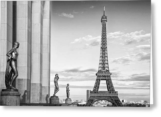 Paris Eiffel Tower Trocadero Monochrome Greeting Card by Melanie Viola