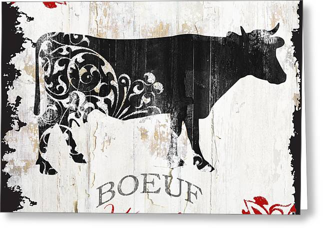 Paris Farm Sign Cow Greeting Card by Mindy Sommers