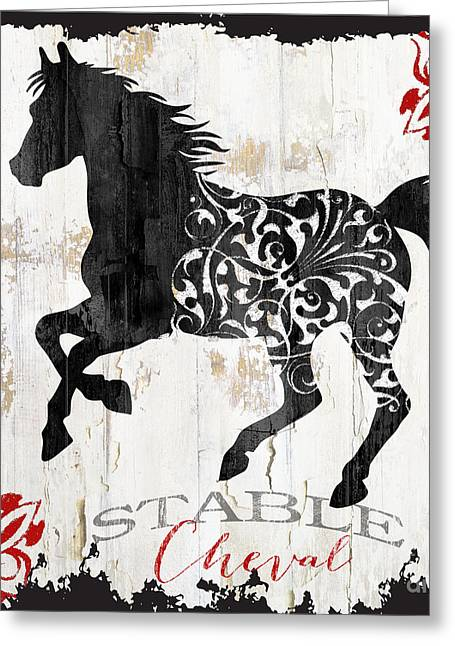 Paris Farm Sign Horse Greeting Card by Mindy Sommers