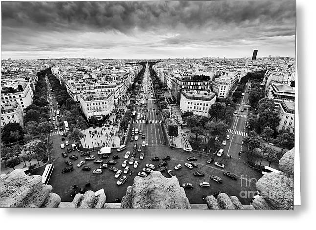 paris france busy streets avenue des champs elysees black and white photograph by michal bednarek. Black Bedroom Furniture Sets. Home Design Ideas