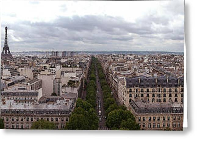 Paris From The Arch De Triumph Greeting Card by Robert Ponzoni