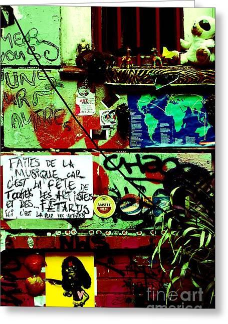 Paris Graffiti Greeting Card by Louise Fahy