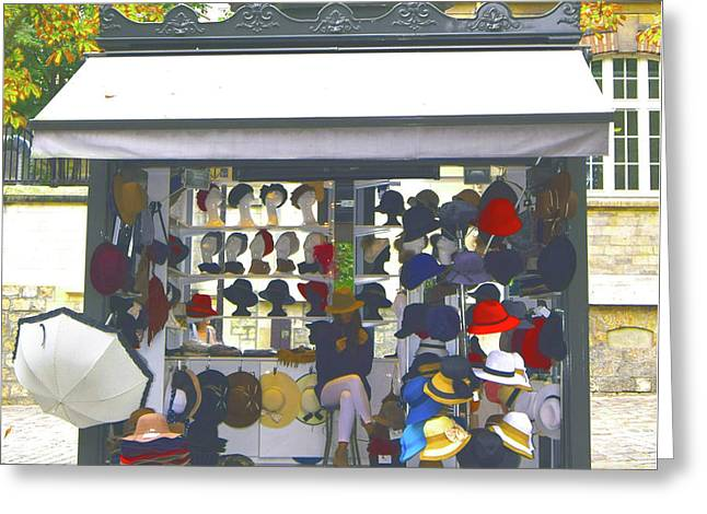 Paris Hat Shop Greeting Card