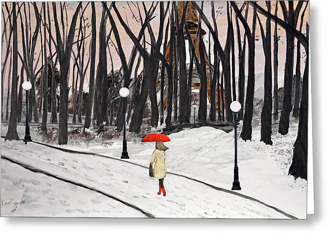 Paris In The Park Greeting Card by Ken Figurski