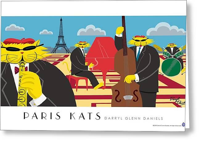 Paris Kats Greeting Card by Darryl Glenn Daniels
