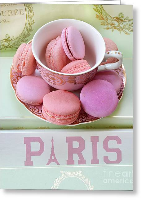 Paris Laduree Macarons - Pink Paris Macarons - Shabby Chic Laduree Paris Macarons Decor Greeting Card