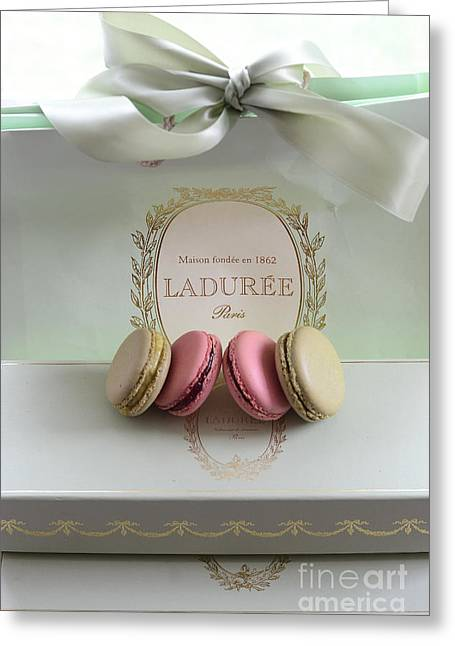 Paris Laduree Mint Box Of Macarons - Paris French Laduree Macarons  Greeting Card by Kathy Fornal
