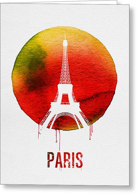 Paris Landmark Red Greeting Card by Naxart Studio
