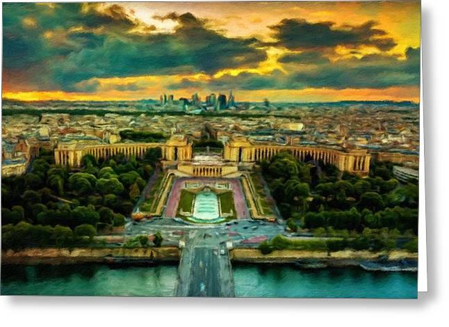 Paris Landscape Greeting Card by Vincent Monozlay