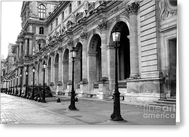 Paris Louvre Black And White Architecture - Louvre Lantern Lights Greeting Card by Kathy Fornal