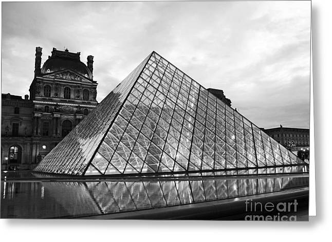 Paris Louvre Museum Pyramid Black And White - Paris Pyramid Twilight Sparkling Night Lights Greeting Card by Kathy Fornal