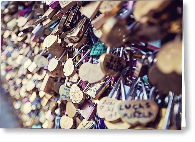 Paris Love Locks Greeting Card by Melanie Alexandra Price