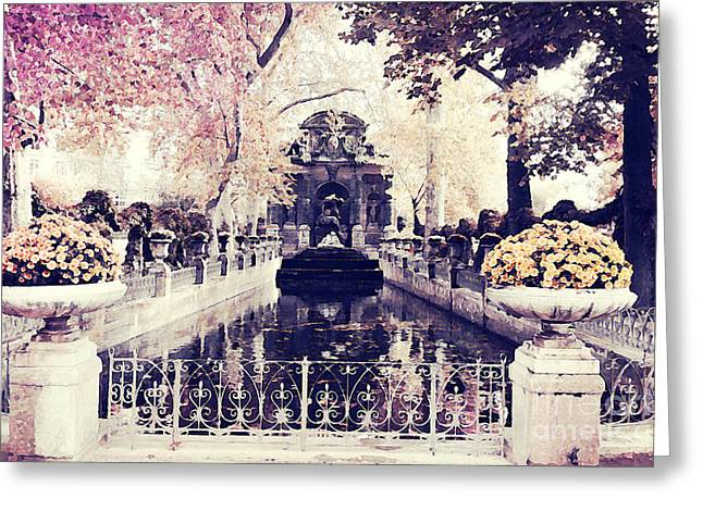 Paris Luxembourg Gardens Fall Autumn Watercolor Painting  Greeting Card by Kathy Fornal