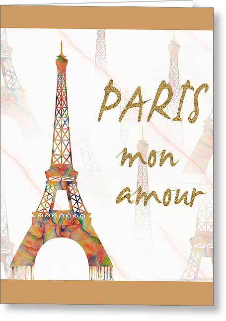 Greeting Card featuring the painting Paris Mon Amour Mixed Media by Georgeta Blanaru