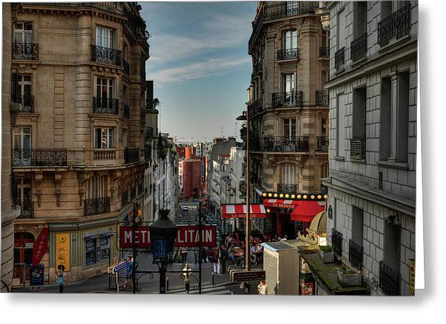 Greeting Card featuring the photograph Paris - Montmartre Streetscape 004 by Lance Vaughn