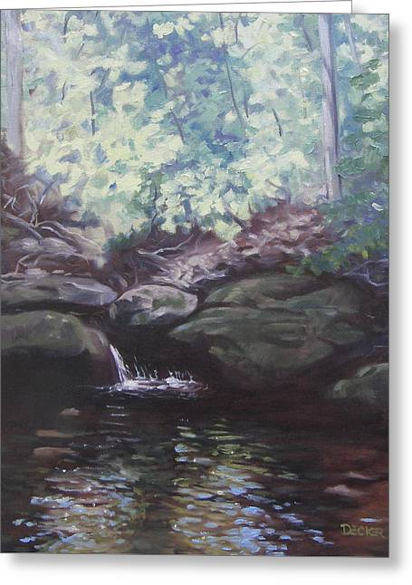 Greeting Card featuring the painting Paris Mountain Waterfall by Robert Decker