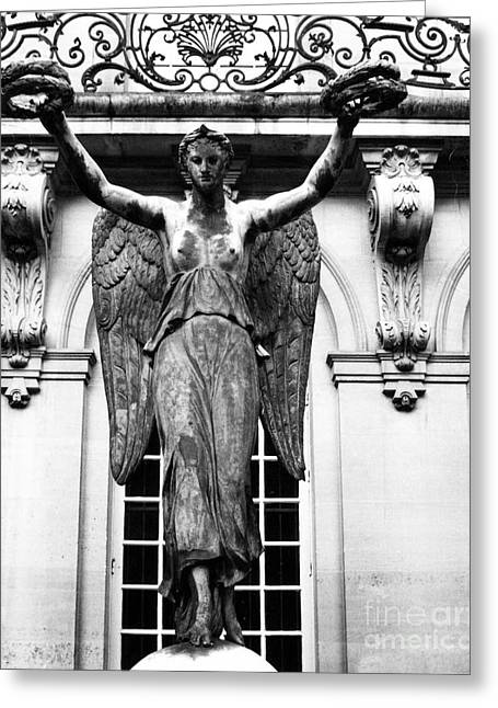 Paris Museum Carnavalet Victory Angel Statue - Paris Hotel Carnavalet Courtyard Angel Victory Statue Greeting Card