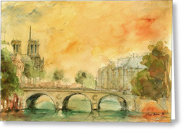 Paris Notre Dame Greeting Card by Juan  Bosco