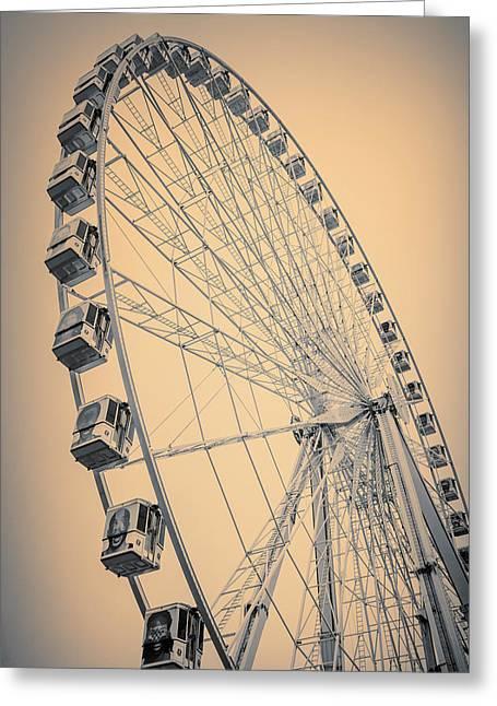 Paris Observation Wheel Sepia Greeting Card