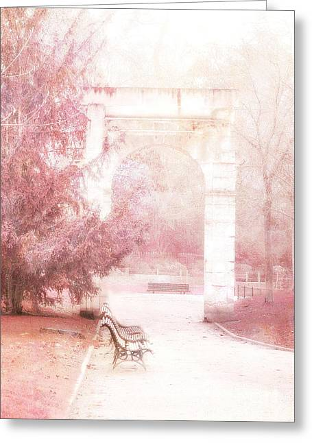 Paris Park Monceau Gardens Landscape - Dreamy Romantic Paris Pink Park Bench Park Monceau Greeting Card by Kathy Fornal