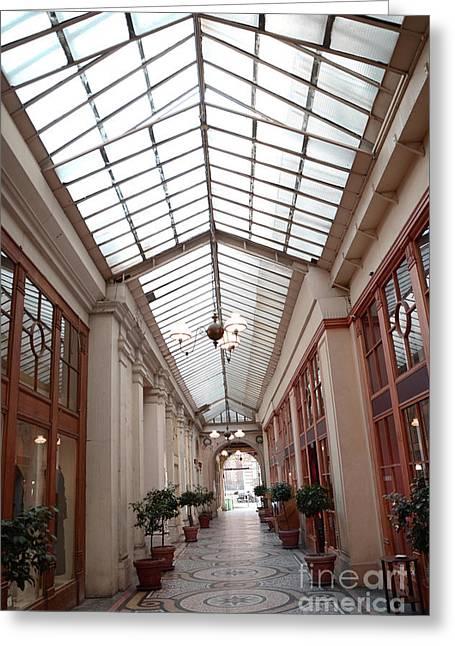 Paris Galerie Vivienne - Paris Glass Dome Street Architecture - Galerie Vivienne  Greeting Card by Kathy Fornal
