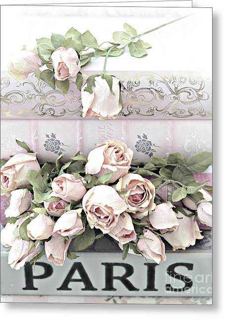 Paris Pastel Pink Shabby Chic Roses - Romantic Cottage Pink And White Roses Greeting Card