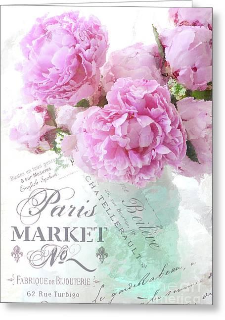 Paris Peonies Impressionistic Romantic Peony Peonies French Script Shabby Chic Decor Greeting Card