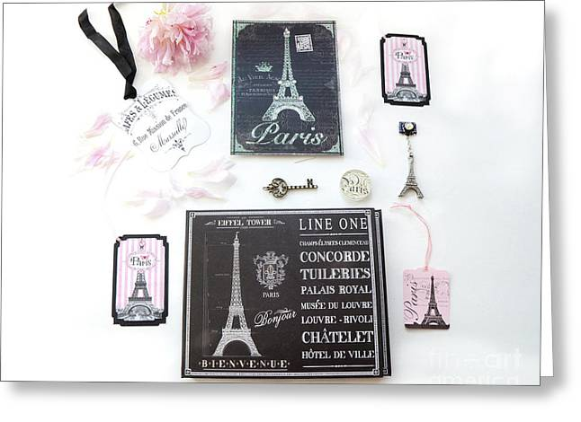 Greeting Card featuring the photograph Paris Pink Black French Script Wall Decor Art, Paris Print Collection  - Parisian Pink Black Decor   by Kathy Fornal