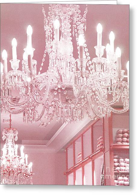 Paris Pink Crystal Chandelier - Paris Repetto Sparkling Chandelier Decor Greeting Card by Kathy Fornal