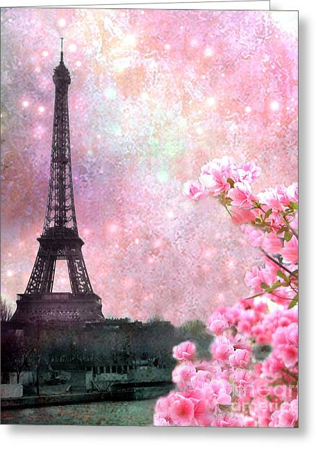Paris Pink Dreamy Eiffel Tower Romantic Cherry Blossoms  - Paris Eiffel Tower Pink Spring Blossoms Greeting Card by Kathy Fornal