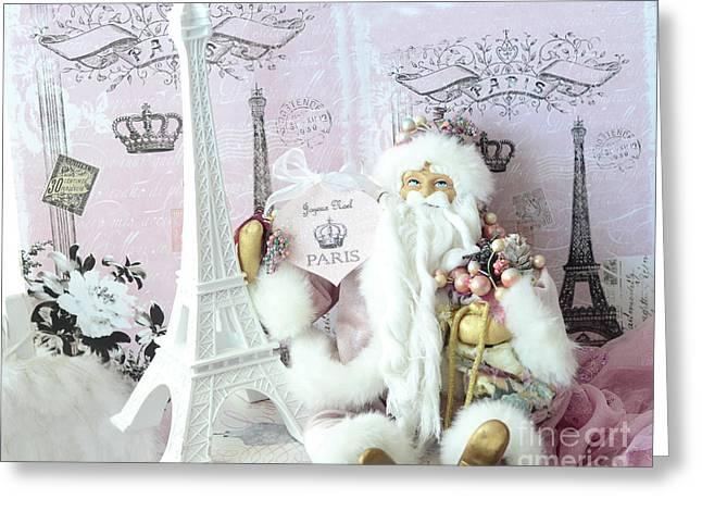 Paris Shabby Chic Holiday Santa - Paris Pink Santa Claus Joyeux Noel - Pink Santa Eiffel Tower Print Greeting Card by Kathy Fornal