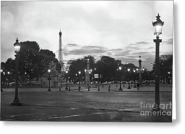 Paris Place De La Concorde Plaza Night Lanterns Street Lamps - Black And White Paris Street Lights Greeting Card by Kathy Fornal