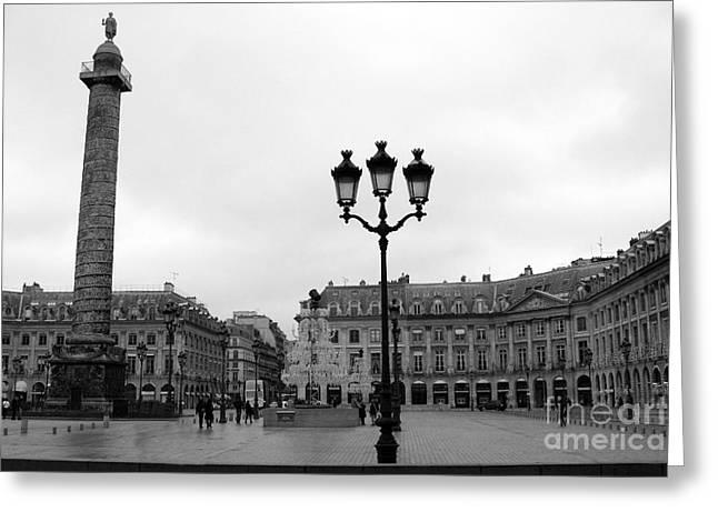 Paris Place Vendome Plaza Street Lanterns Landmark - Paris Black White Place Vendome Architecture Greeting Card by Kathy Fornal