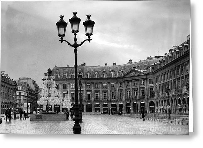 Paris Place Vendome Street Lanterns - Paris Black White Architecture Street Lamps Shopping District Greeting Card by Kathy Fornal