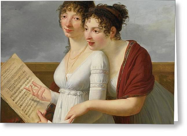 Paris Portrait Of Two Elegantly Dressed Ladies Greeting Card by MotionAge Designs