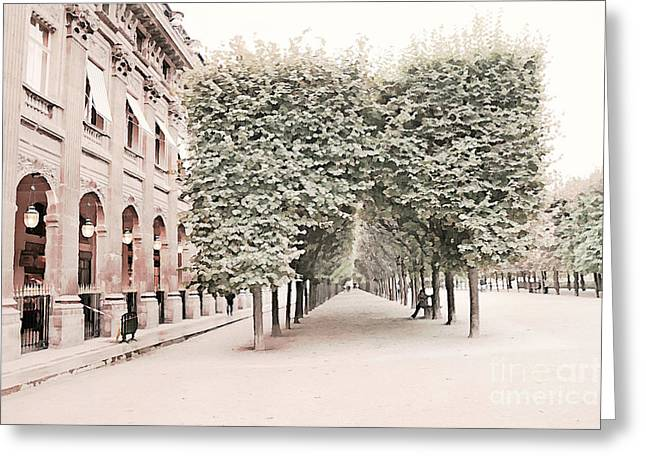 Paris Romantic Palais Royal Garden - Paris Garden Architecture Row Of Trees Watercolor Decor Greeting Card by Kathy Fornal