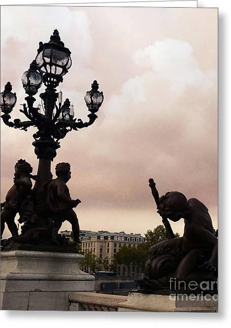 Paris Romantic Pont Alexandre Bridge With Lanterns And Cherubs Greeting Card by Kathy Fornal