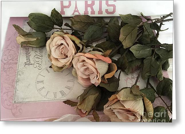 Paris Romantic Roses - French Roses On Paris Book - Shabby Chic Romantic Paris Roses Greeting Card