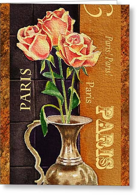 Paris Roses Greeting Card by Irina Sztukowski