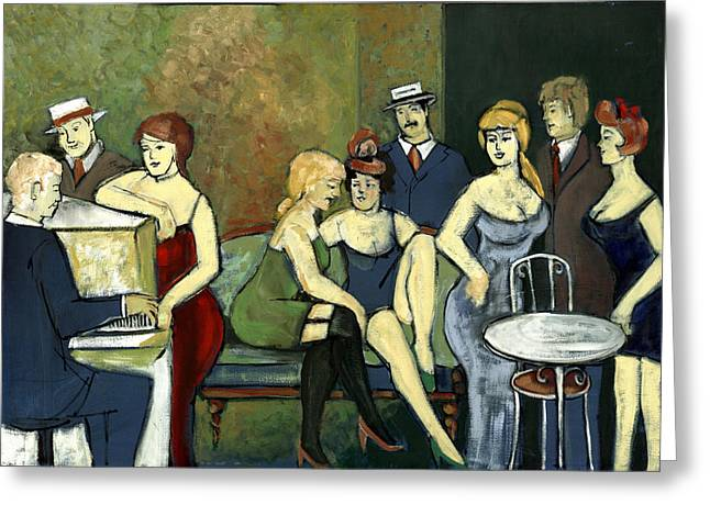 Paris Salon Scene Women In Seductive Cloths Impressionistic Piano Hats Table Chair Mustache  Greeting Card