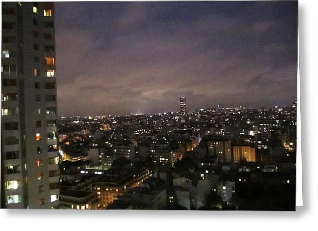 Paris Skyline At Night II France Greeting Card