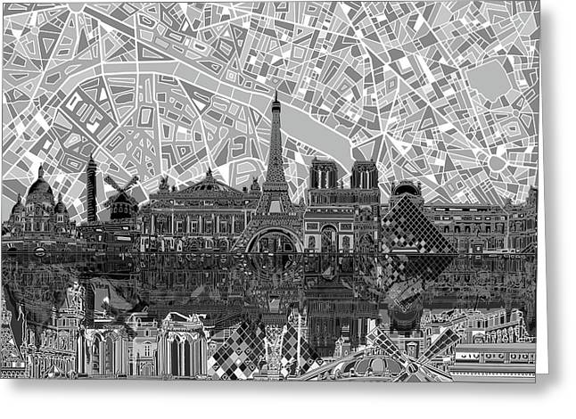Greeting Card featuring the painting Paris Skyline Black And White by Bekim Art