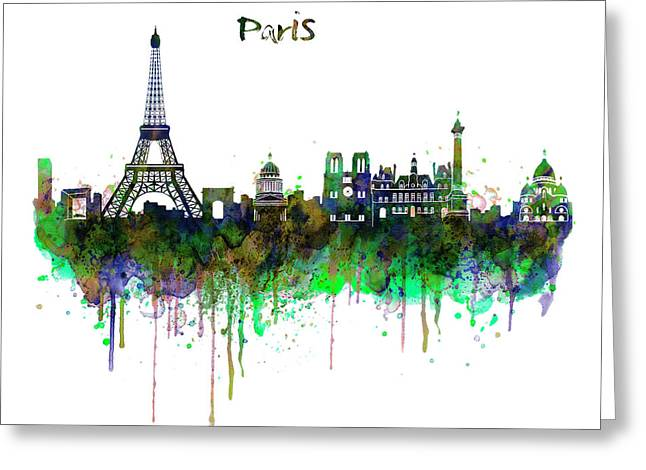 Paris Skyline Watercolor Greeting Card