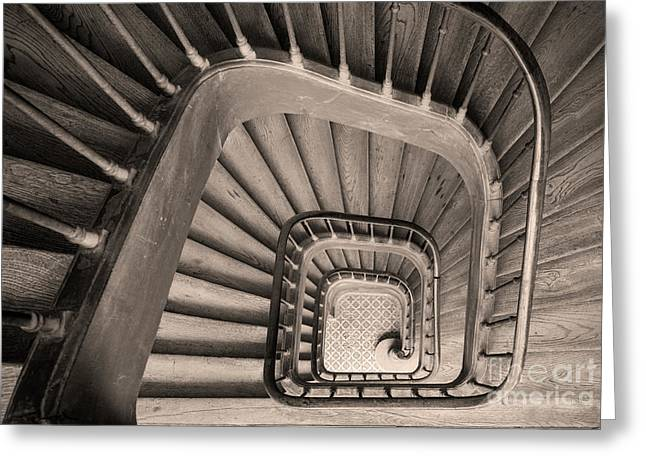 Paris Staircase - Sepia Greeting Card by Brian Jannsen